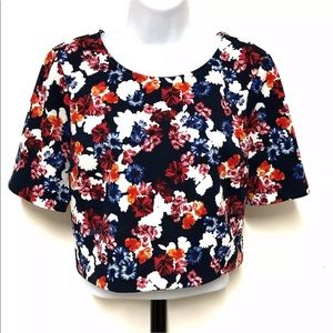 Express Floral Crop Top Short Sleeve Bold Colors